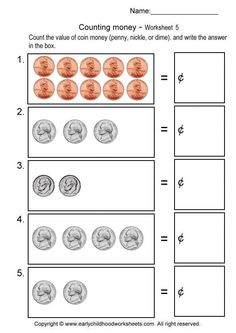 Free Counting Nickels Great For Counting By 5s For Money