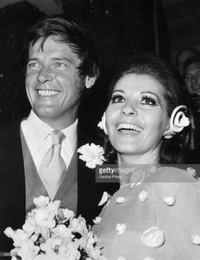 Roger with 3rd wife, Luisa Mattioli after their wedding at Caxton Hall in London.