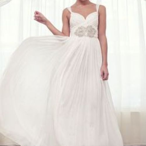 Sheer One Shoulder Flowing Wedding Dress Features Jeweled Waist