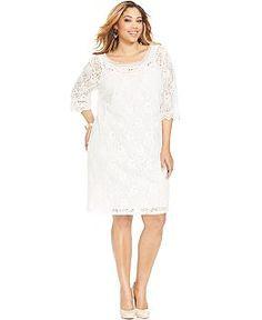 ING Plus Size Dress Three Quarter Sleeve Lace Plus Size