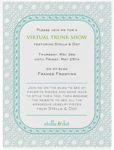 trunk show invitation wording Inviviewco