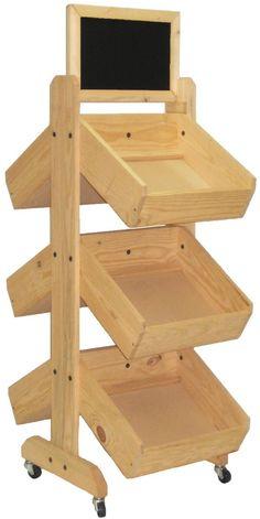 3 Tier Dump Bin Floor Standing Pine Wood Frame With Chalkboard Header Oak