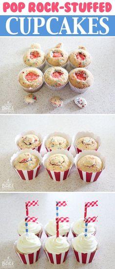 4th of July Pop Rock Stuffed Cupcakes ... just imagine ...