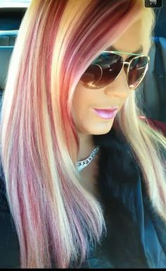 platinum blonde highlights with red and dark brown hair color hair by me pinterest