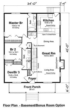 Bungalow Cottage Country Traditional House Plan 74001