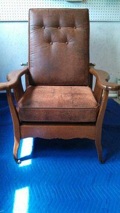 Antique Mission Oak Morris Chair Leather Rocker Recliner W