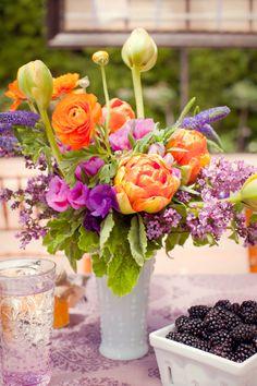 purple and orange flower garden Purple Flower Arrangements on Pinterest | Yellow Flower