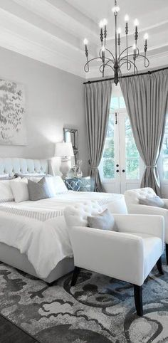 Gorgeous color....♅ Dove Gray Home Decor ♅  white and grey bedroom