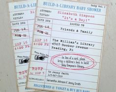 Library Book Card Invite Baby Shower Ideas Pinterest Themed Showers And Crafts