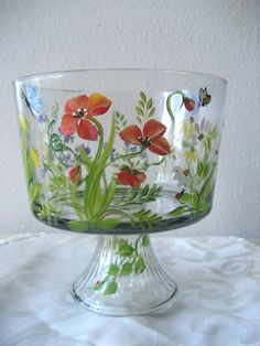 Hand Painted Glass Trifle Bowl With Wildflower By