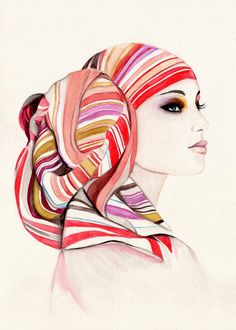 Beautiful head scarves - but cant see who did this.