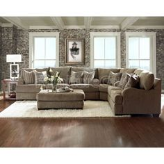 Chenille Fabric Oversized Sectional Sofa With Matching Ottoman Living Pinterest Sectional