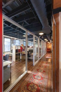 corridor in an office space with black laminate accent on commercial office space paint colors id=49232
