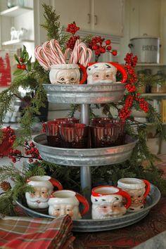 Vintage Santa mugs -