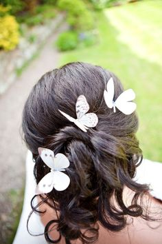 bridal hair pin butterfly hair clip bridal butterfly silk butterfly wedding butterfly hair