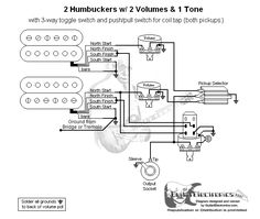 Guitar Wiring Diagram 2 Humbuckers3Way Lever Switch2 Volumes1 ToneIndividual Coil Taps