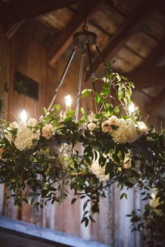 White Roses Chandelier With Hanging Candle Holders Wedding Resources Pinterest And