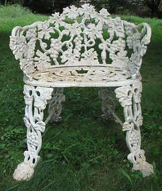 Vintage Victorian White Ornate Wrought Iron Chair Indoor