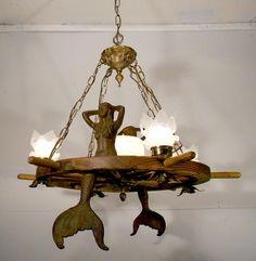 Nautical Mermaid Ship Wheel Chandelier Ceiling Light Fixture Lamp W Glass Shades
