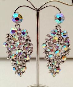 Ab Crystal Chandelier Earrings Bollywood Bling Costume Jewellery Silver Jk