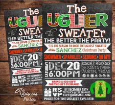 free printable ugly christmas sweater party invitations Inviviewco