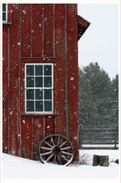 Old barn in the snow