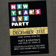pajama party new year invitation