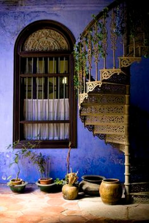 beautiful color, great window - and those stairs!! - - Georgetown, Penang, Malaysia (photo from archdaily)