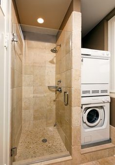 stacked washer and dryer and small shower   2nd Bathroom ... on Small Space Small Bathroom Ideas With Washing Machine id=25911