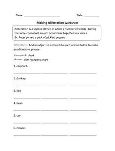 Writing Alliteration Worksheet