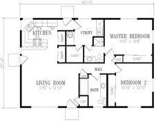 Ranch Style House Plan 2 Beds Baths 1080 Sq Ft 1