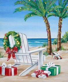 Beach Christmas Card Nautical Coastal Seashore