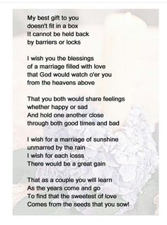 Personalised Poem To My Daughter On Your Wedding Day In Memory Of