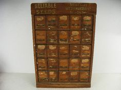 Large Antique Wooden Bulk Garden Seed Display Cabinet With