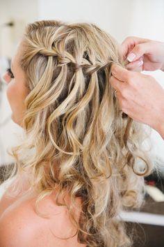 waterfall braid half up half down with curls google search hair pinterest