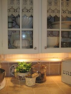1000 Images About Lace Curtains Inside Cabinets On