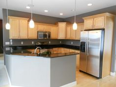 gray kitchen walls with maple cabinets | Going Gray {Gray ... on Gray Countertops With Maple Cabinets  id=56373
