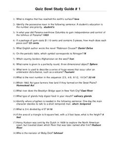 Academic Quiz Bowl Study Guide Includes questions and