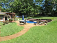 rectangular pool with sloping uphill retaining wall ... on Uphill Backyard Ideas  id=79623