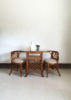 Vintage 1980s Bamboo Dining Set Table And Chairs Dining