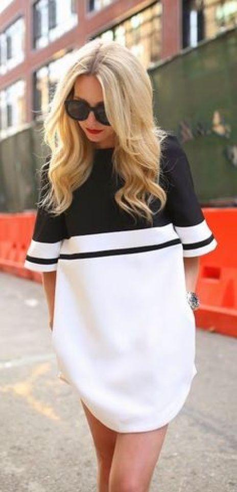 #street #style / black and white shirt dress