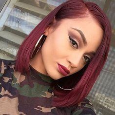 Black Girl Bob Hair With Burgundy