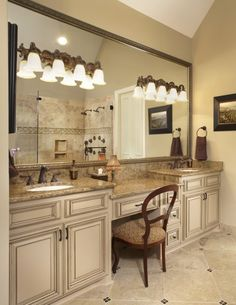 double vanity with makeup area |  vanity, make up area, framed