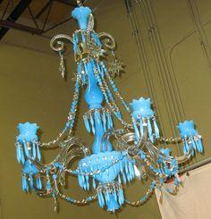 Baccarat Blue Opaline Chandelier Lamp C 1890