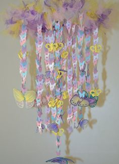 Erfly Wonderland Crib Mobile Purple Pink Yellow White Blue Nursery Wonderlandcrib Mobilespink Yellownursery Decorbaby Shower