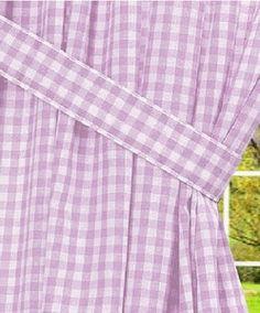 Light Purple Gingham Check Window Curtains