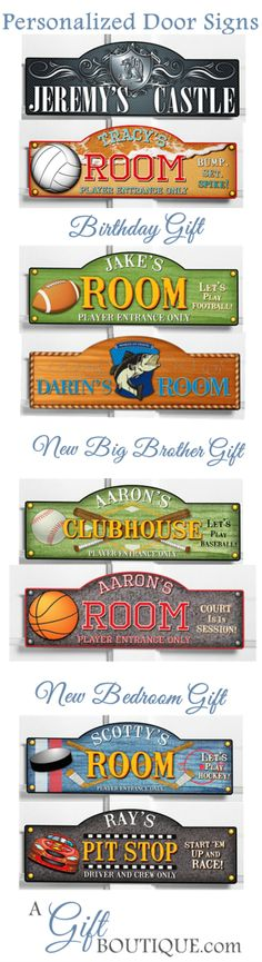 Boys Bedroom Door Personalized Signs Gift Idea For Decor Sport