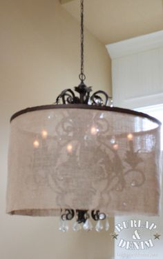 Turn An Old Large Chandelier Into A Show Stopper By Adding This Huge Diy Barrel Shade For Using Hula Hoop And Burlap