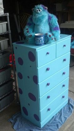 We Painted A Hand Me Down Dresser For The Boys Room To Look Like Sully From Monsters Inc How Cute Bit Over Top But Creative