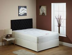 Details About Cream Memory Foam Divan Bed With Mattress 3ft Single 4ft6 Double 5ft King Size